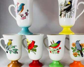 Full Set of Six Footed Bird Multicolored Mugs