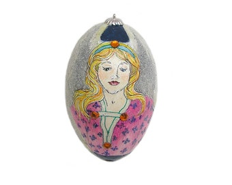 Hand Painted Egg Christmas Ornament with Angel Hand Painted Goose Egg Christmas Ornament