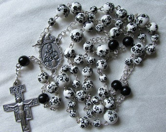Black and White Floral Rosary 8/6mm