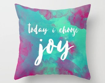 Watercolor Pillow, Inspirational Pillow Cover, Modern Throw Pillow, Turquoise Home Decor, Couch Cushion, Gift for Her, Housewarming Gift
