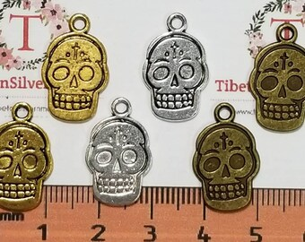 12 pcs per pack 19x12mm Printed Sugar Skull Reversible Charm in color to choose Lead free Pewter.