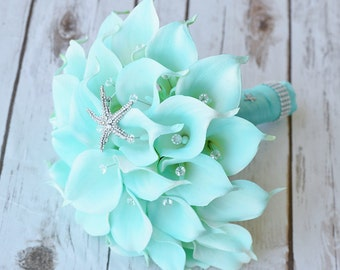 Silk Flower Wedding Bouquet Turquoise Mint Teal Starfish Calla Lilies Natural Touch with Crystals Brooch - Robbin's Egg Blue Bridal Bouquet