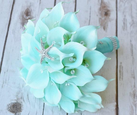 Silk Flower Wedding Bouquet Turquoise Mint Teal Starfish Calla
