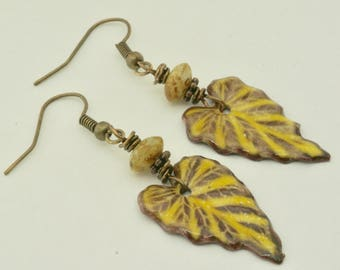 Yellow Leaf Earrings, Yellow Jewelry, Mustard Ivy Leaves, Handmade Enamel Earrings, Autumn Earrings, Yellow Earrings, Spring Birthday Gift
