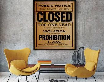 US Government Prohibition Poster Reproduction Home Decor Retro Wall Art