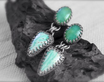 Amazonite and Chrysoprase set in Embossed Sterling Silver-Earrings