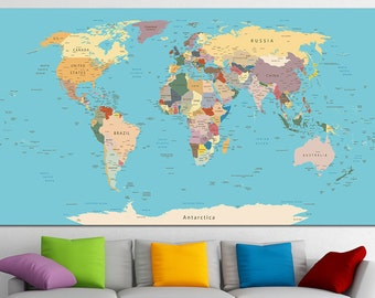 Extra large watercolor push pin map poster print world map push pin world map canvas print world map wall art set world map print world map gumiabroncs Gallery