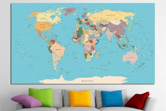 Push pin world map canvas print world map wall art set world like this item gumiabroncs Images