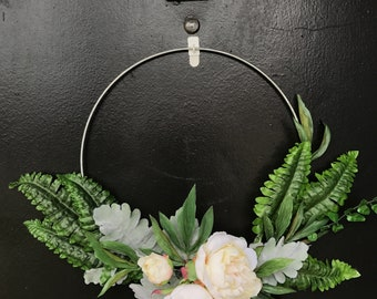 Minimalist Peony, Fern and Lambs Ear Wreath