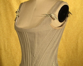 CUSTOM 18th century linen stays! Hand-sewn.