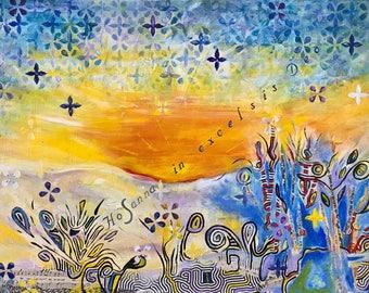 """Mixed Media Acrylic Painting """"Hosanna"""""""