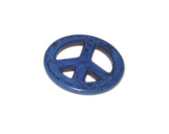 34mm Blue Peace Sign Dyed Turquoise Charm