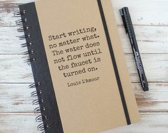 Writing Journal, Gift for Writers, Inspirational Quote, Notebook, Louis L'Armour LL2