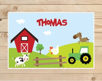 Kids-Personalized-Placemat---Farm-Animals-Laminated-Placemat-for-Boys
