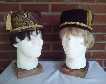 Victorian gentlemen's brown velveteen and brocade smoking caps