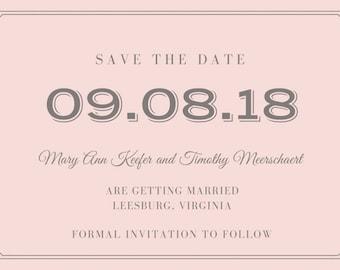 Pink and Gray Save the Date Postcard Printable Wedding STD