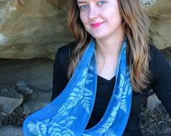 Cyanotype 100% silk scarves (5 different designs)