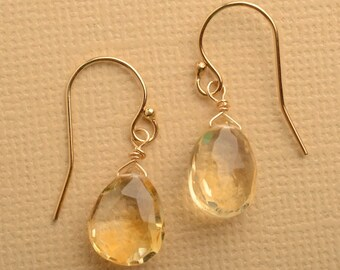 Citrine Earrings, November Birthstone, Gemstone Earrings, Gold Earrings, Healing Gemstone Jewelry