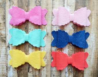 Scalloped Wool Felt Bows LARGE - Spring Favorites Collection -  Coral and Mint Felt - Set of 12