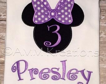 Minnie Mouse Purple Birthday Shirt or Onesie