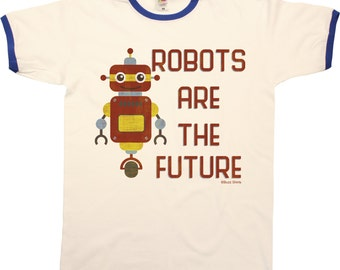 Robots Are The Future Mens RINGER T-Shirt Retro Style Cool Fashion New