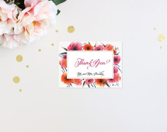 Thank You Card Modern Tropic Floral Elegant Luxury Bold Classic Unique Calligraphy Destination Beach Affordable Canvas Striped