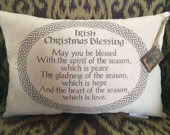 Irish Christmas Blessing Pillow/Holliday/Christmas