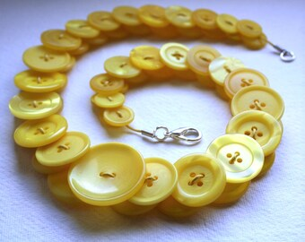 Canary Yellow Button Necklace Button Jewellery Button Jewelry UK Handmade Free UK Shipping