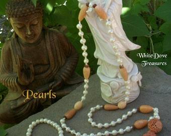FRESHWATER PEARL MALA Necklace ~ PearlMala Bracelet ~ Antique Carved Jade Bead ~ Elegant White Wedding Gift ~ Chakra Jewelry