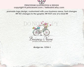 1254-1  bike logo, logo design, logo branding,  boutique logo, business branding, business logo design, whimsical logo, logo watermark