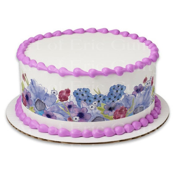 Pastel Easter Flowers - Designer Strips - Edible Cake Side Toppers- Decorate The Sides of Your Cake! - D22047