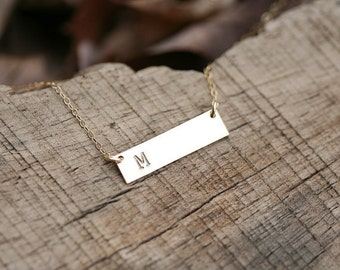Personalized  Bar necklace, initial Bar Monogram Necklace, Contemporary Bridesmaid's jewelry, Initial Rectangle necklace,