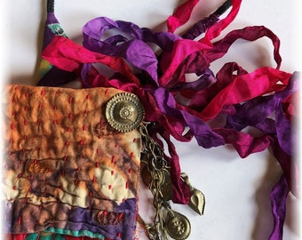Primitive Handmade OOAK Boro Inspired Vintage Indian Kantha Quilt Pouch..Kuchi Tribal Charms, Hand Dyed Ribbons, Colorful Gypsy Style!