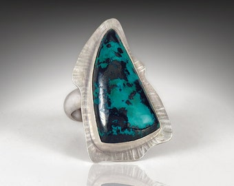 Sterling Ring with with Chrysocolla and Hematite Stone, Size 8 1/4, One of a Kind, Artisan Handmade Cocktail Ring