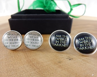 Game of Thrones Quote Earrings, Arya Stark Earrings, GoT Quote, Cabochon Jewellery, Night's Watch Oath, I am the Sword in the Darkness