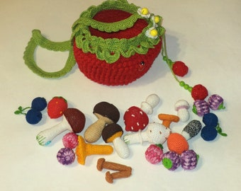 knitted baby basket with berries (10 pcs)crochet  mushrooms (10 pcs)Children accessory Toddler purse\Children crochet bag\Bags for children
