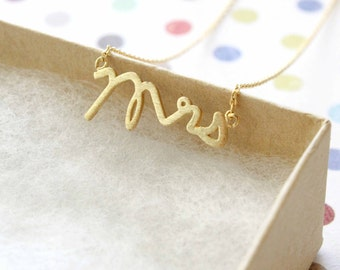 Tiny Gold Mrs Charm Necklace, Simple Necklace, Mrs Necklace, Bridal Shower Gift,Bridal Gift, MRS Necklace,RNK-3005A