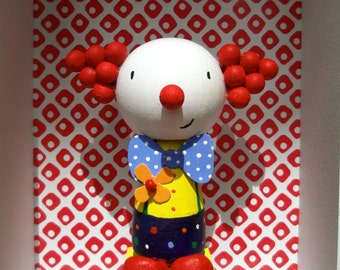 Clown Birthday Cake Topper - hand painted wooden doll