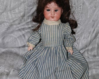 Antique Armand Marseille Bisque Doll - Made in Germany - 390n 3/0 X-M - Composition Body - Blue Glass Eyes - 14""