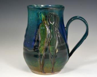 Green Blue Coffee Mug, handmade ceramic Mug, Pottery coffee cup with figures.