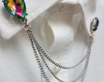 Rainbow Crystal Collar Chain Set