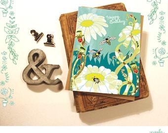 Bee Happy Birthday Card - bees, hand drawn illustration, birthday card, happy birthday bee