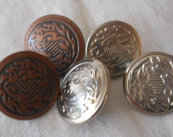 Set of 5 Leaf Design Silver & Copper Metal Pant Stud BUTTONS