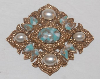 Vintage 60s Pearl & Turquoise Brooch By Sarah Coventry