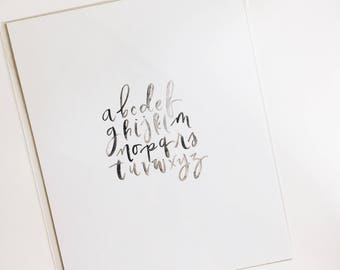 Alphabet Art print- 8x10 hand lettered watercolor art print - childrens art- for the home - home decor -baby room - baby shower