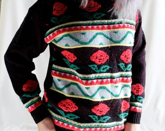 Vintage Flower Print Sweater
