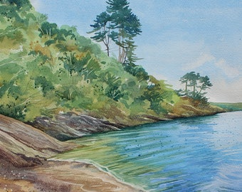 original watercolour of Durgan beach, watercolour of Helford River, river painting, water reflections, pine trees, cove, Cornish beach