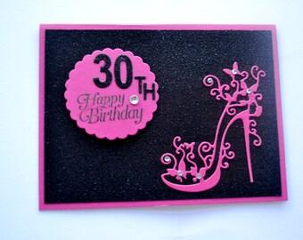30th handmade card / 21st / 18th/ 16th/ 50th/ high heels card / Card for friend / Card for spouse/ card for her