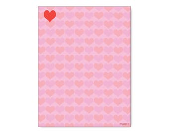 Hearts Stationery -  Love & Hearts Letterhead -8.5 x 11 inches - 60 Paper Sheets - 6513