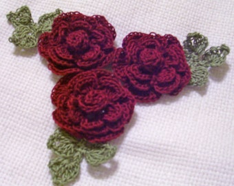 3 roses flowers burgundy appliques scrapbooking sewn on home decor handmade embellishments